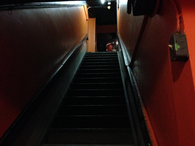 "The stairs leading up from the show at Ritual that sent me back into the ""real world""."