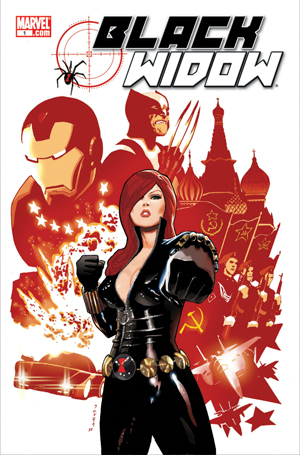 This image of the Black Widow in a Marvel comic was found here: http://bit.ly/1bGwfhf